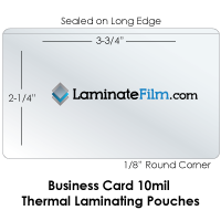 "Business Card 10 Mil Laminating Pouches 2-1/4"" x 3-3/4"""