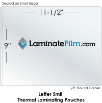 "Letter 5 mil 9"" x 11-1/2"" Thermal Laminating Pouches"